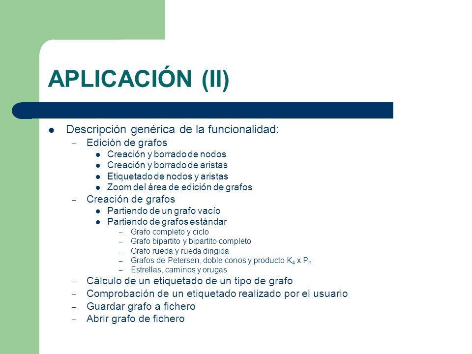 APLICACIÓN (II) Descripción genérica de la funcionalidad: