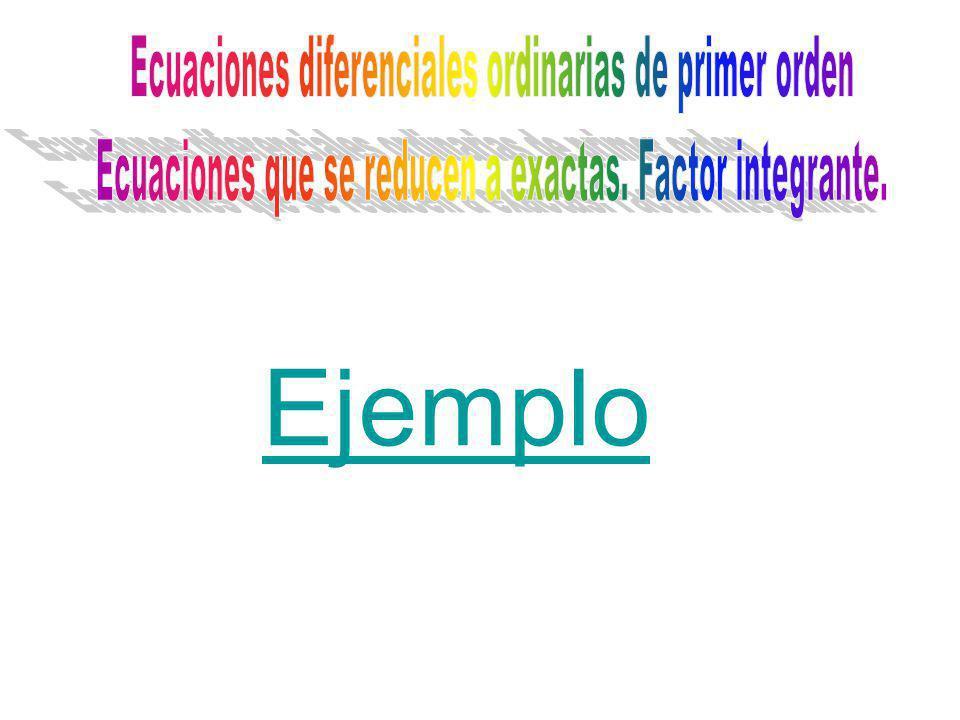 Ejemplo Ecuaciones diferenciales ordinarias de primer orden