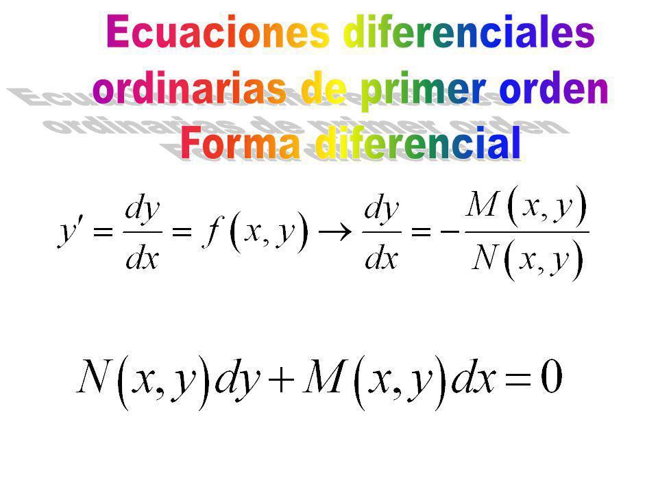 Ecuaciones diferenciales ordinarias de primer orden Forma diferencial