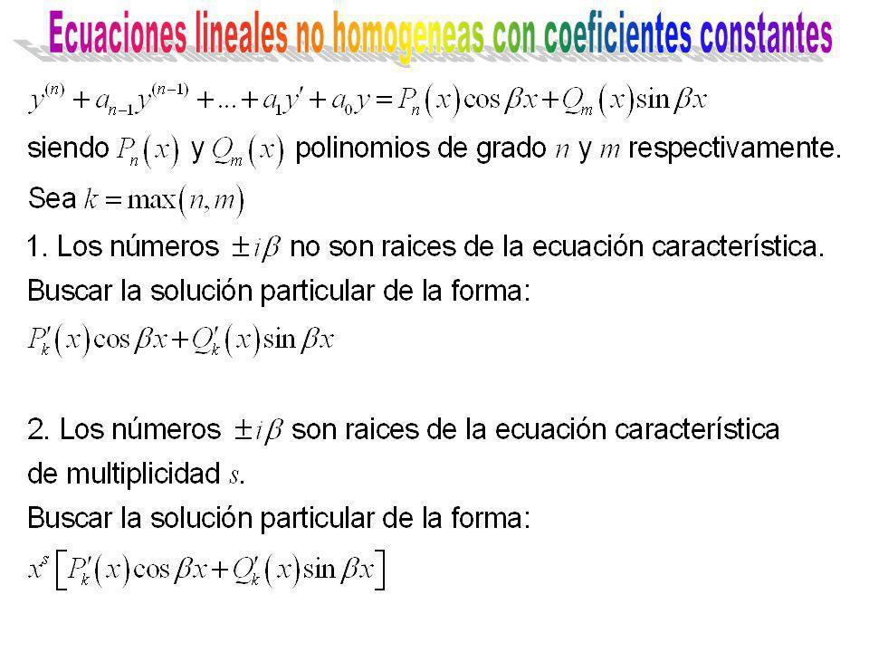 Ecuaciones lineales no homogeneas con coeficientes constantes