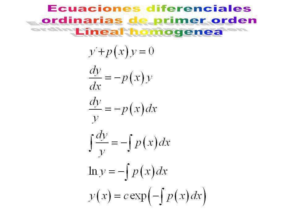 Ecuaciones diferenciales ordinarias de primer orden Lineal homogenea