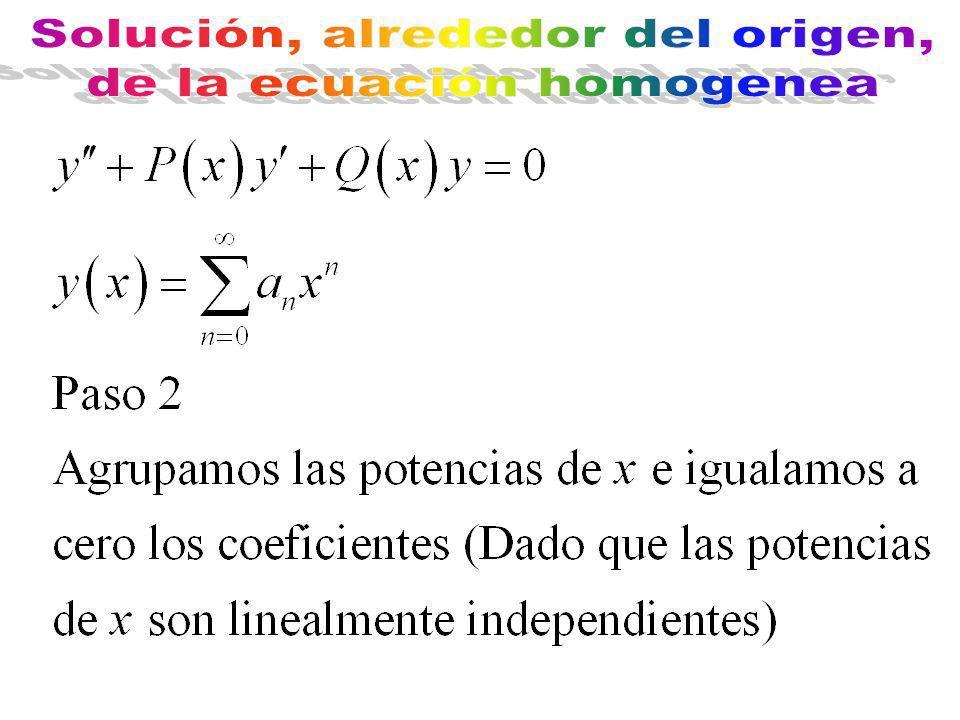 Solución, alrededor del origen, de la ecuación homogenea