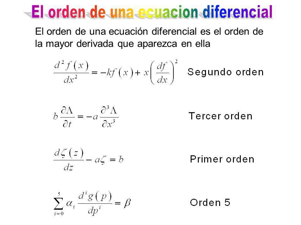 El orden de una ecuacion diferencial