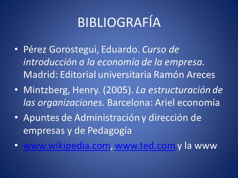 BIBLIOGRAFÍA Pérez Gorostegui, Eduardo. Curso de introducción a la economía de la empresa. Madrid: Editorial universitaria Ramón Areces.
