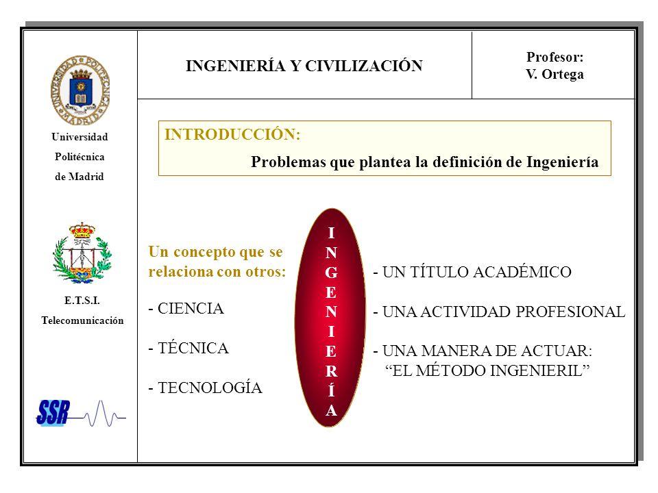 INTRODUCCIÓN: Problemas que plantea la definición de Ingeniería. I. N. G. E. R. Í. A. Un concepto que se.