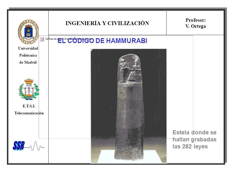 EL CÓDIGO DE HAMMURABI Estela donde se hallan grabadas las 282 leyes