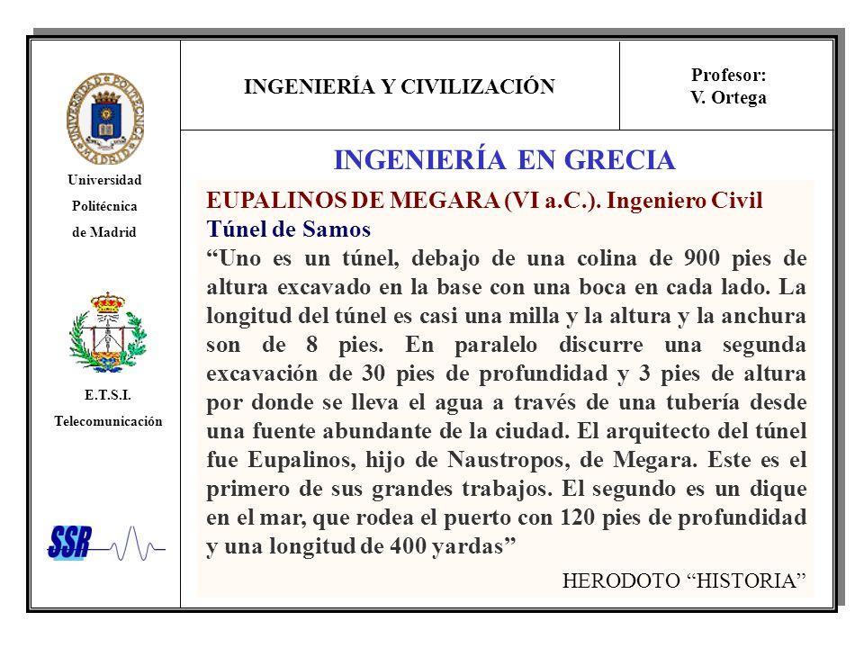 INGENIERÍA EN GRECIA EUPALINOS DE MEGARA (VI a.C.). Ingeniero Civil