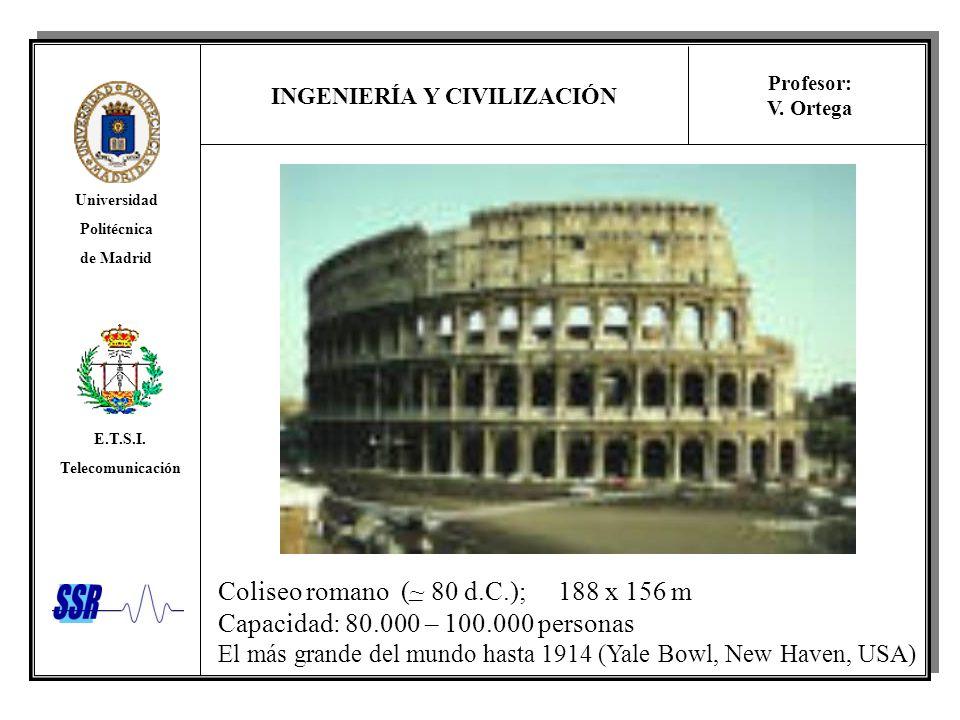 Coliseo romano (~ 80 d.C.); 188 x 156 m