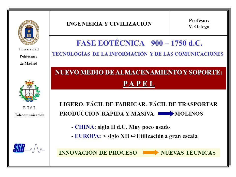 FASE EOTÉCNICA 900 – 1750 d.C. P A P E L