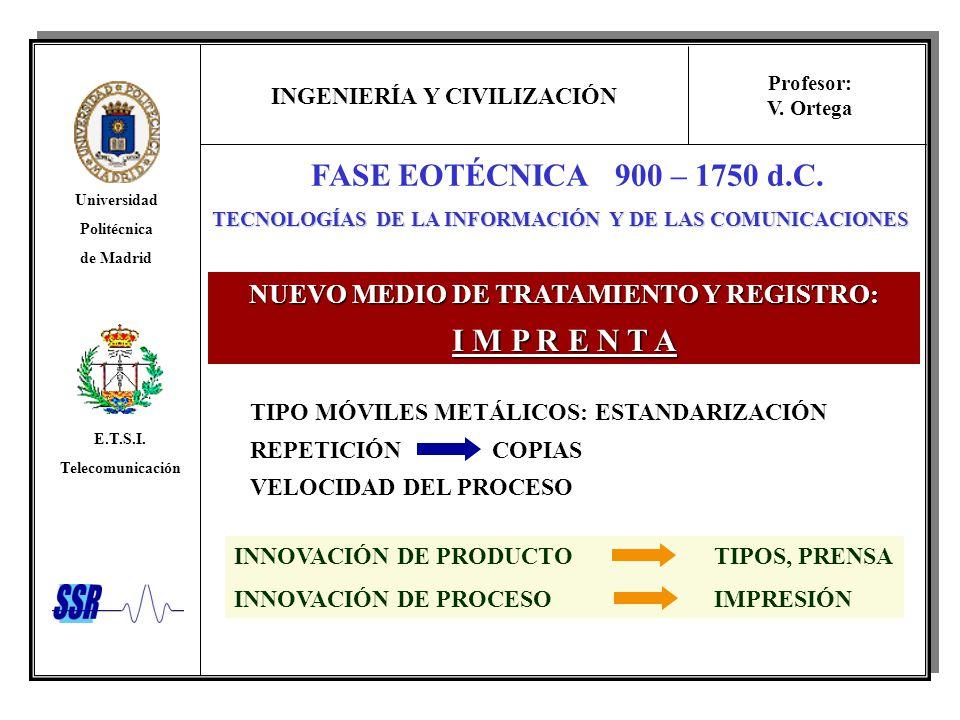 FASE EOTÉCNICA 900 – 1750 d.C. I M P R E N T A