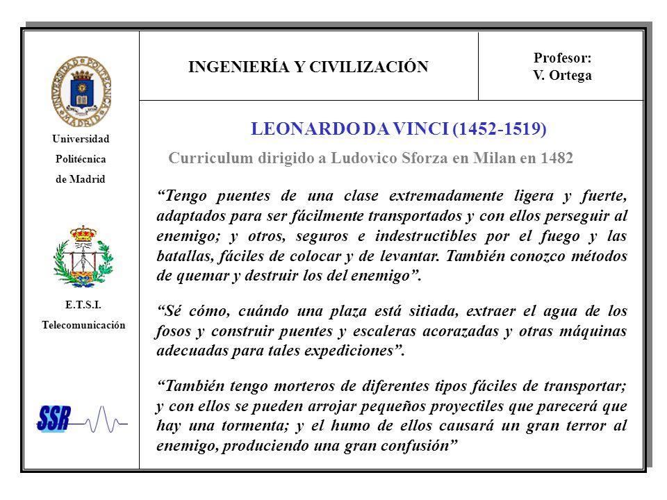 Curriculum dirigido a Ludovico Sforza en Milan en 1482