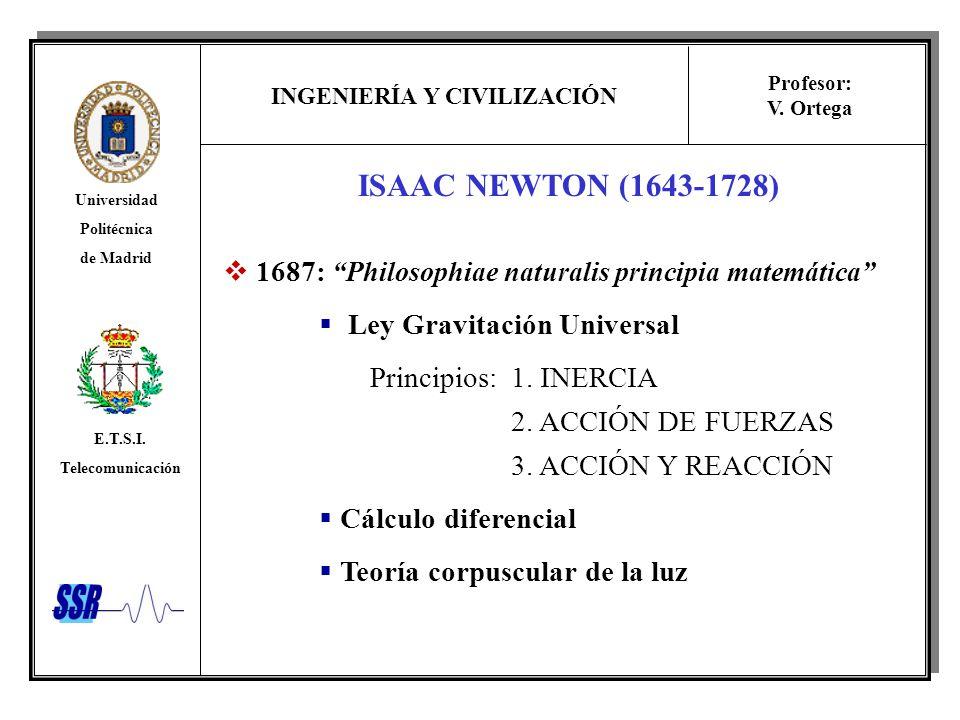 ISAAC NEWTON (1643-1728) 1687: Philosophiae naturalis principia matemática Ley Gravitación Universal.