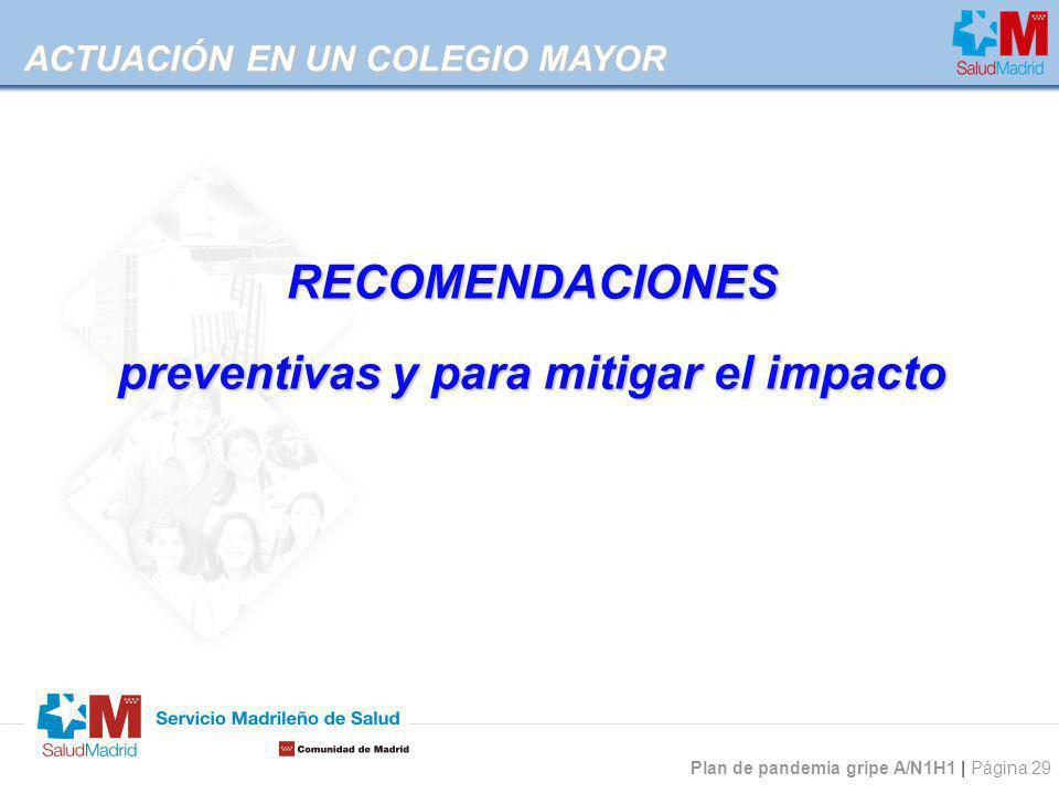 preventivas y para mitigar el impacto