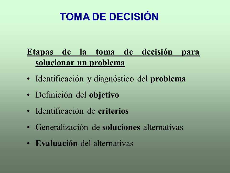 TOMA DE DECISIÓN Etapas de la toma de decisión para solucionar un problema. Identificación y diagnóstico del problema.