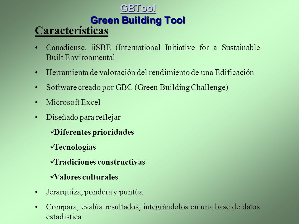 GBTool Green Building Tool