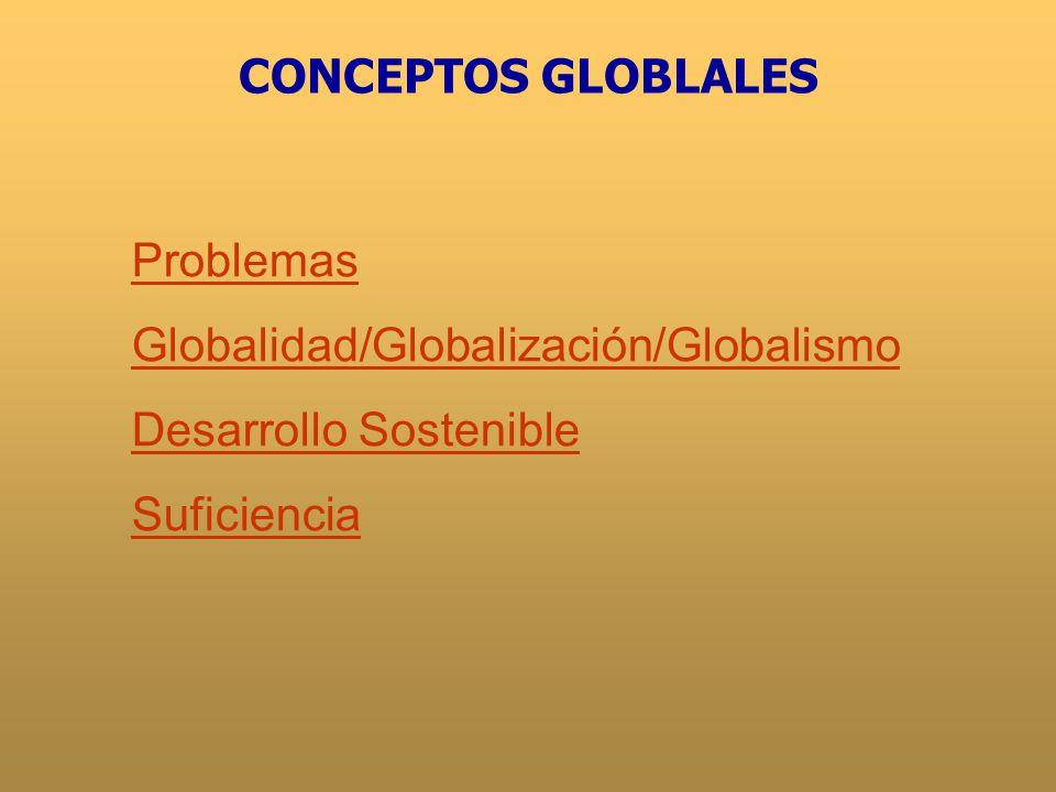 CONCEPTOS GLOBLALES Problemas Globalidad/Globalización/Globalismo Desarrollo Sostenible Suficiencia