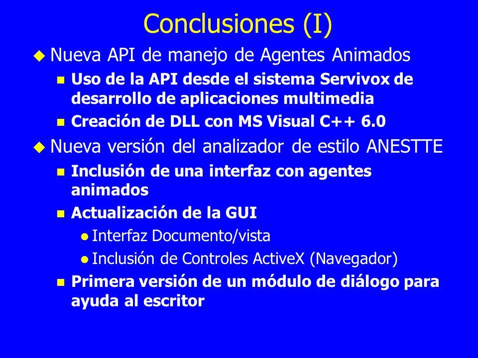 Conclusiones (I) Nueva API de manejo de Agentes Animados