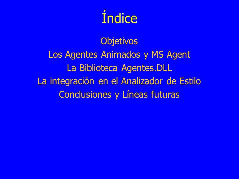 Índice Objetivos Los Agentes Animados y MS Agent