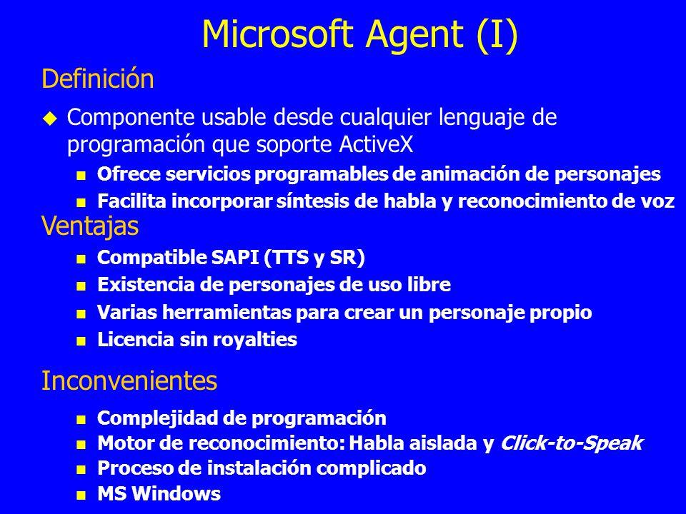 Microsoft Agent (I) Definición Ventajas Inconvenientes