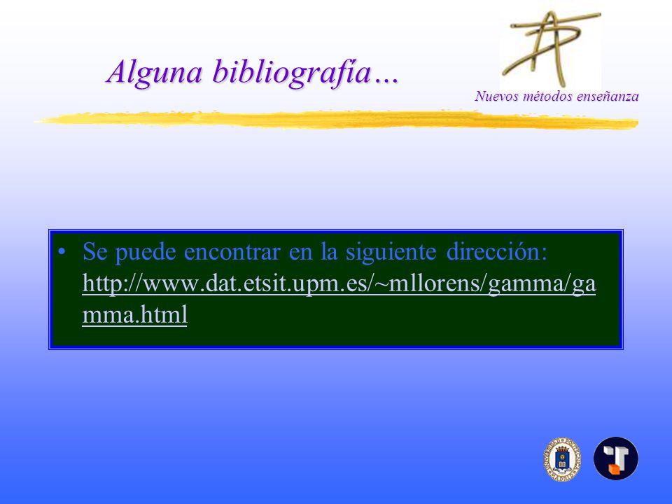Alguna bibliografía… Se puede encontrar en la siguiente dirección: http://www.dat.etsit.upm.es/~mllorens/gamma/gamma.html.