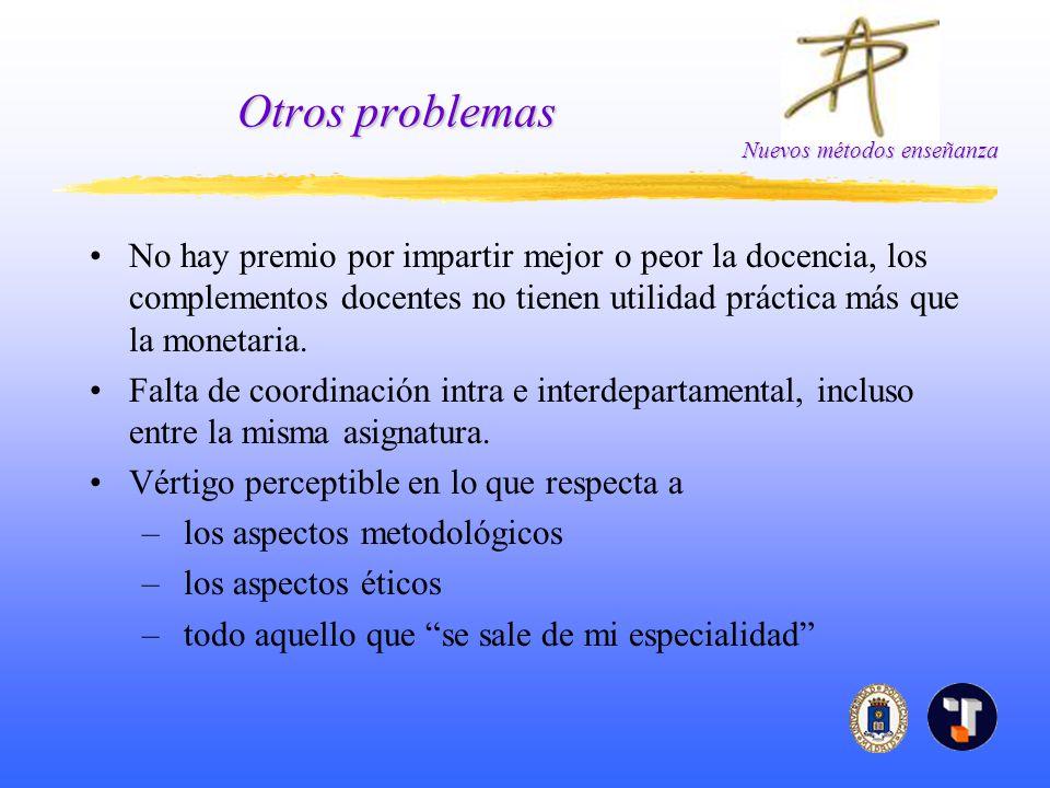 Otros problemas No hay premio por impartir mejor o peor la docencia, los complementos docentes no tienen utilidad práctica más que la monetaria.
