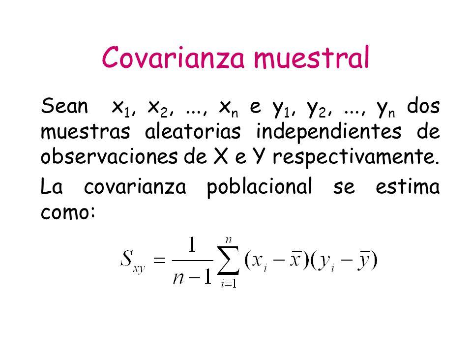 Covarianza muestral Sean x1, x2, ..., xn e y1, y2, ..., yn dos muestras aleatorias independientes de observaciones de X e Y respectivamente.