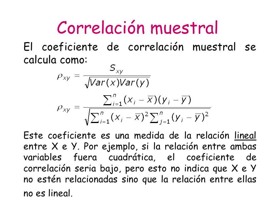 Correlación muestral El coeficiente de correlación muestral se calcula como: