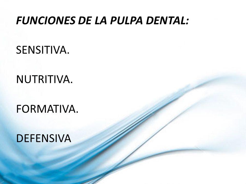 FUNCIONES DE LA PULPA DENTAL: