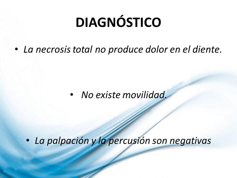 DIAGNÓSTICO La necrosis total no produce dolor en el diente.