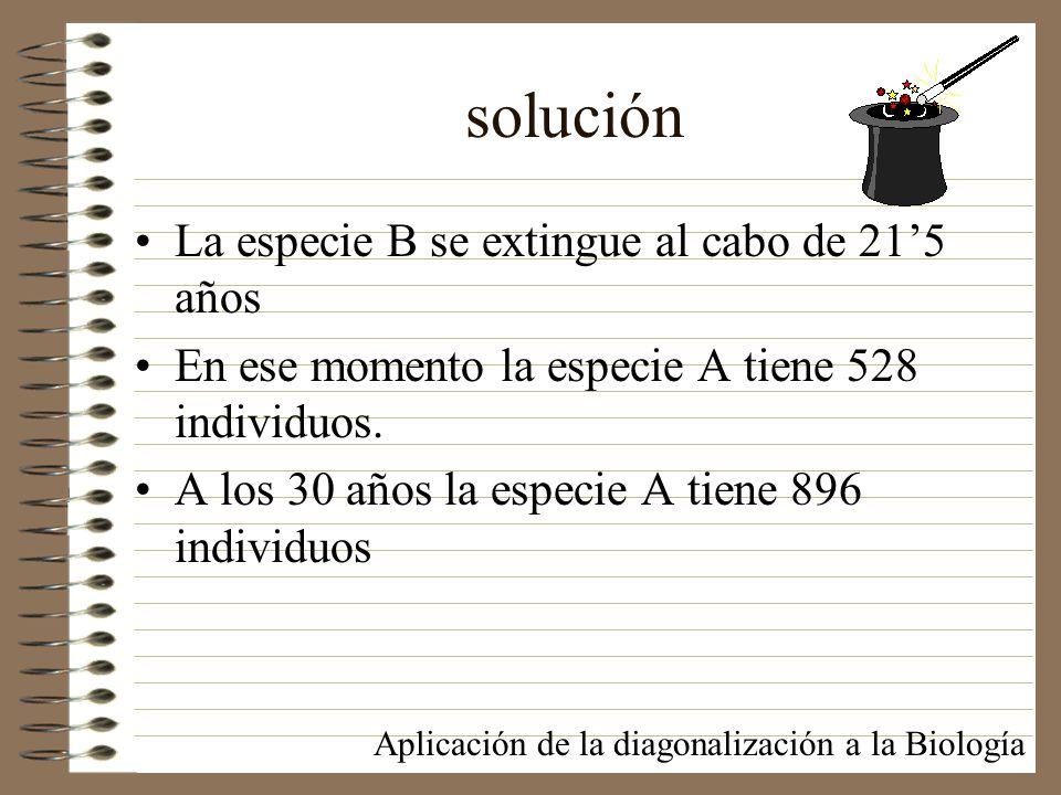 solución La especie B se extingue al cabo de 21'5 años