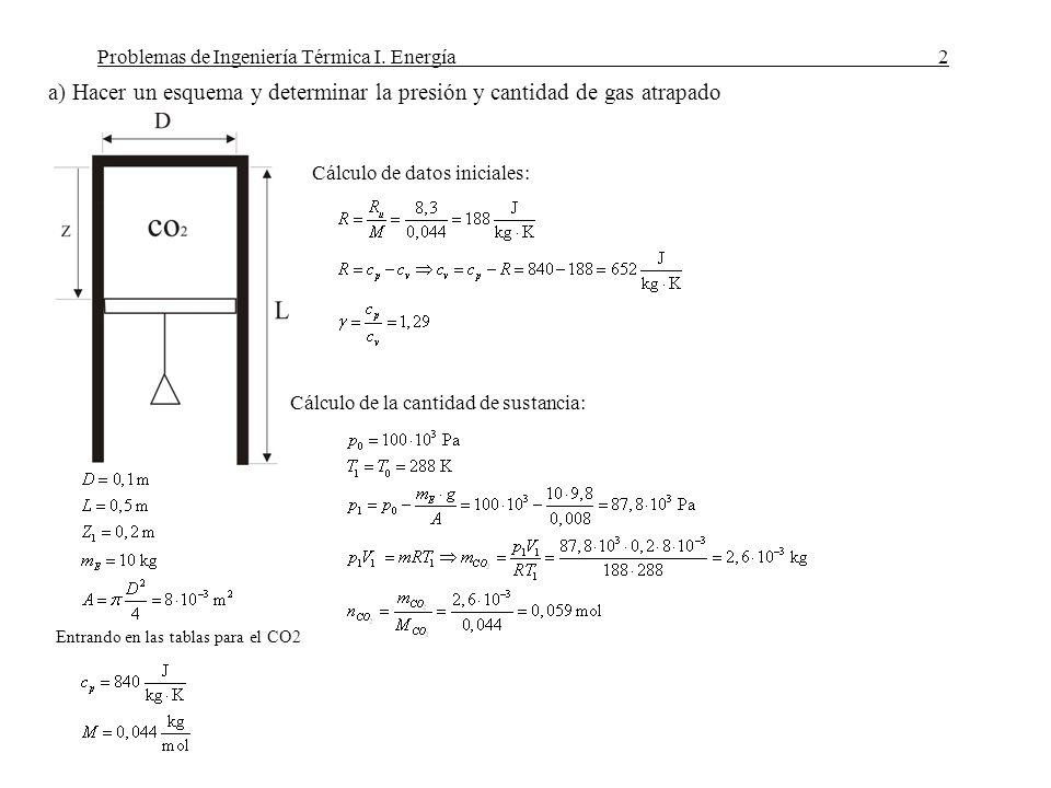 a) Hacer un esquema y determinar la presión y cantidad de gas atrapado