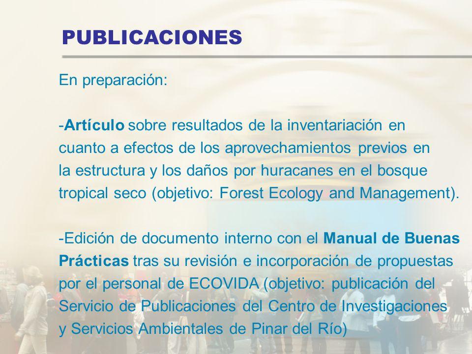 PUBLICACIONES En preparación: