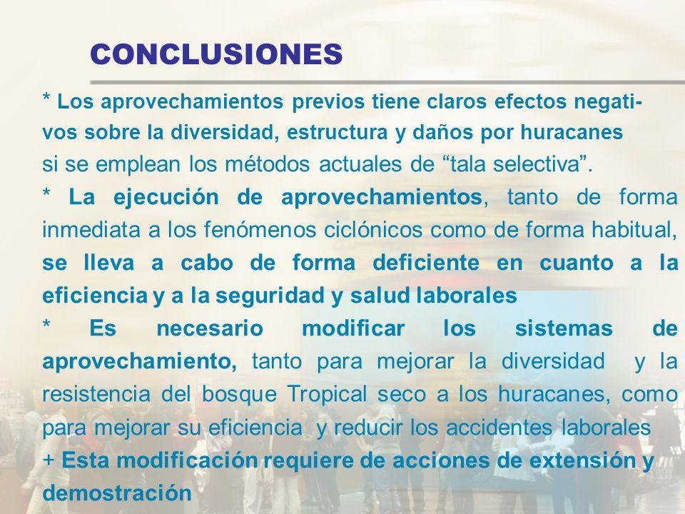 CONCLUSIONES * Los aprovechamientos previos tiene claros efectos negati- vos sobre la diversidad, estructura y daños por huracanes.