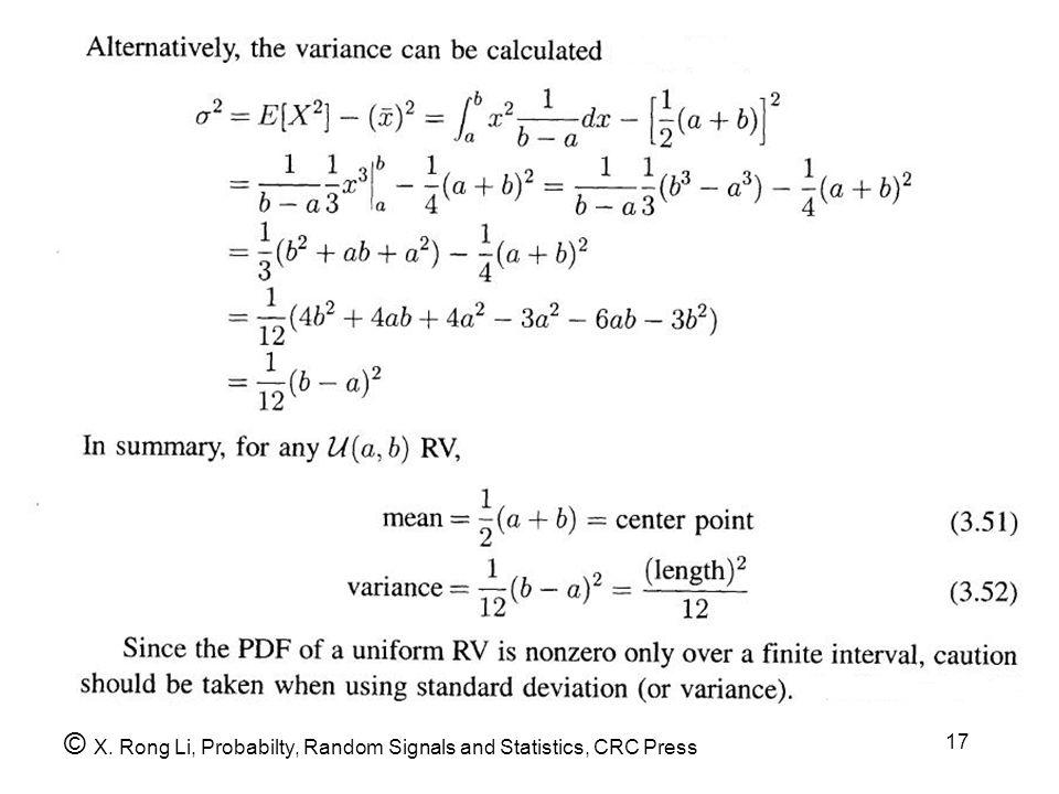 © X. Rong Li, Probabilty, Random Signals and Statistics, CRC Press