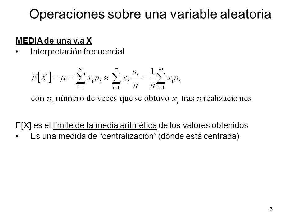 Operaciones sobre una variable aleatoria