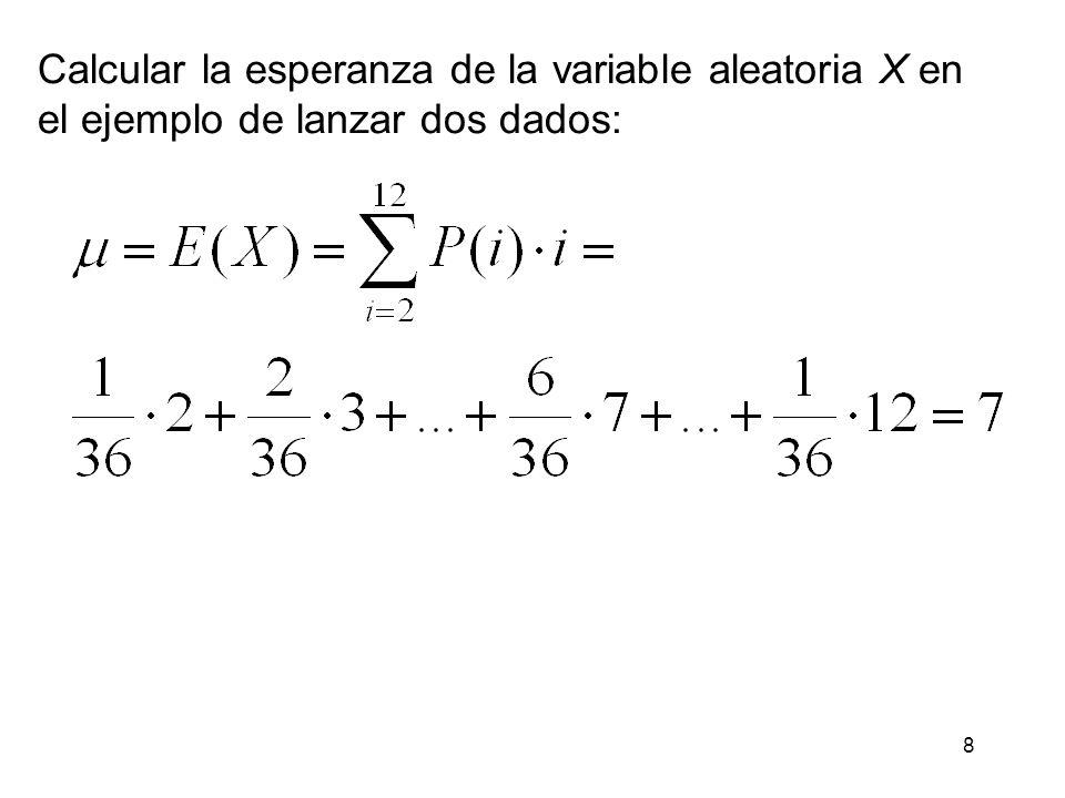 Calcular la esperanza de la variable aleatoria X en
