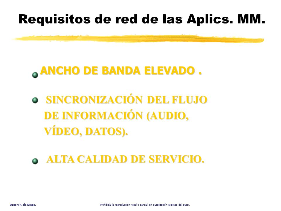 Requisitos de red de las Aplics. MM.