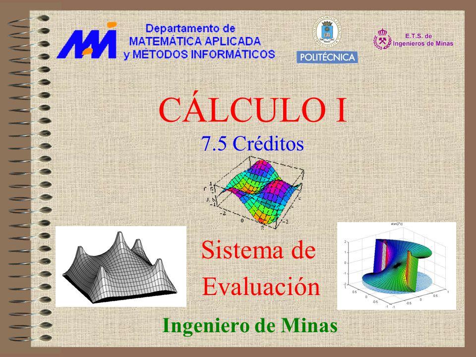 CÁLCULO I 7.5 Créditos Sistema de Evaluación Ingeniero de Minas