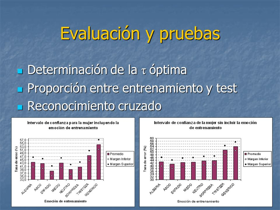 Evaluación y pruebas Determinación de la τ óptima
