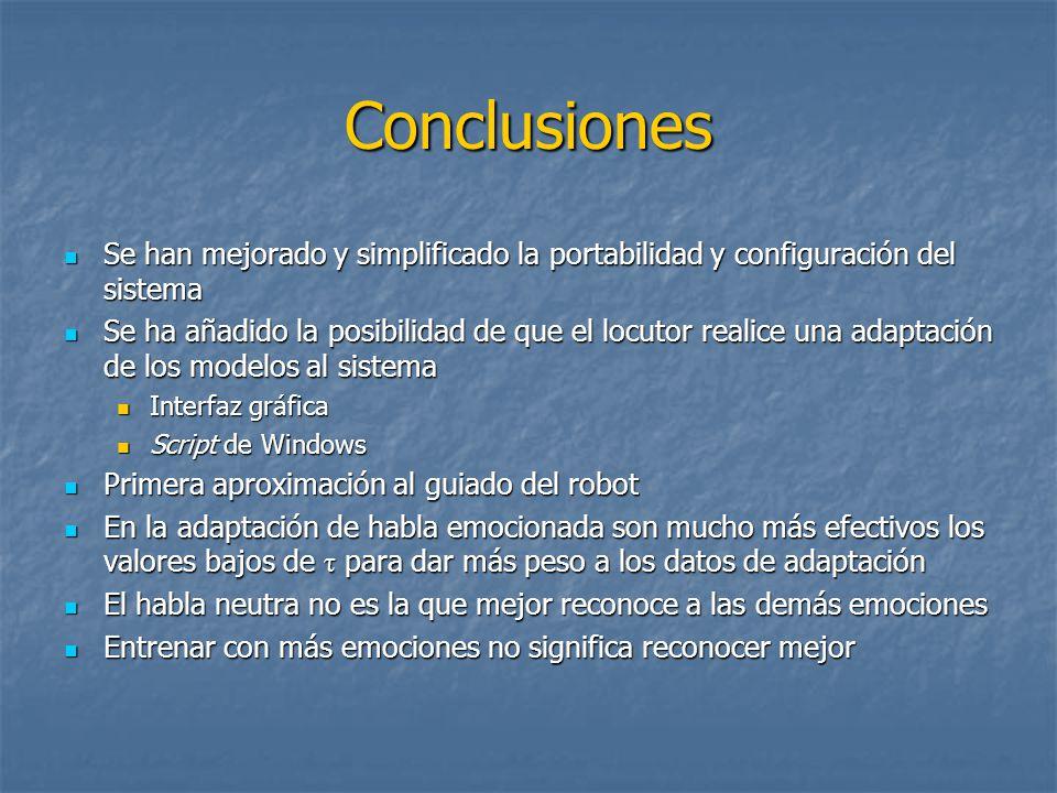 Conclusiones Se han mejorado y simplificado la portabilidad y configuración del sistema.
