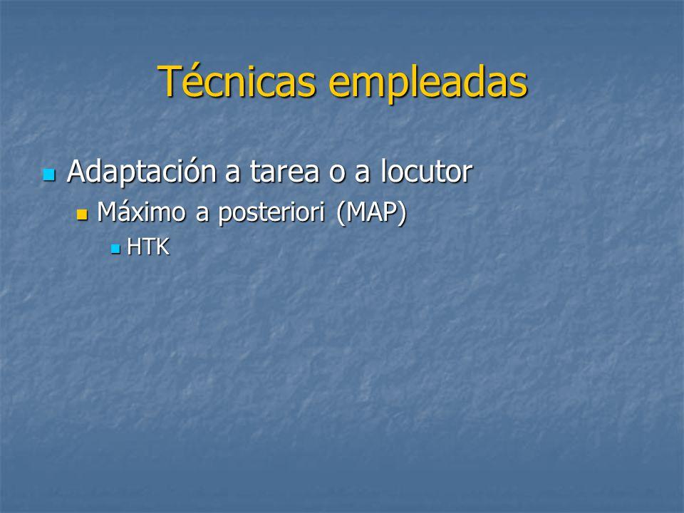 Técnicas empleadas Adaptación a tarea o a locutor