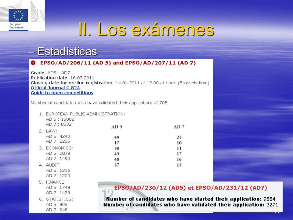 II. Los exámenes Estadísticas