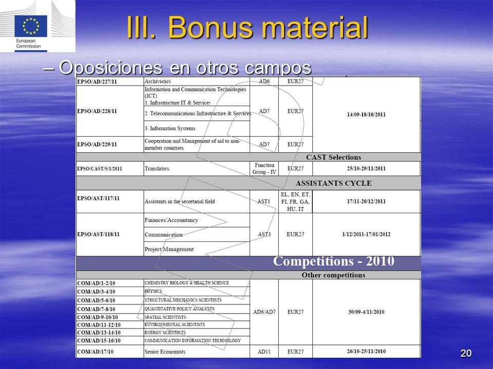 III. Bonus material Oposiciones en otros campos