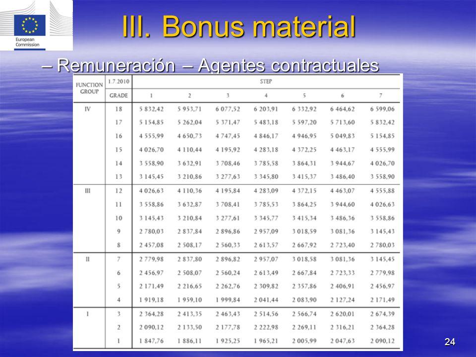 III. Bonus material Remuneración – Agentes contractuales