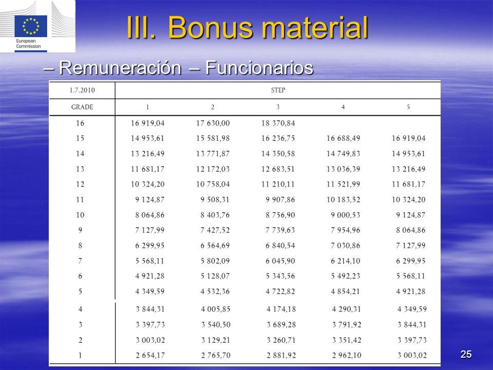 III. Bonus material Remuneración – Funcionarios