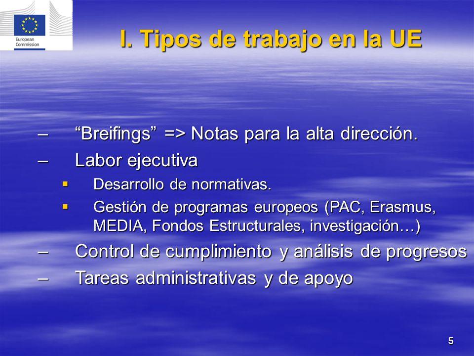 I. Tipos de trabajo en la UE