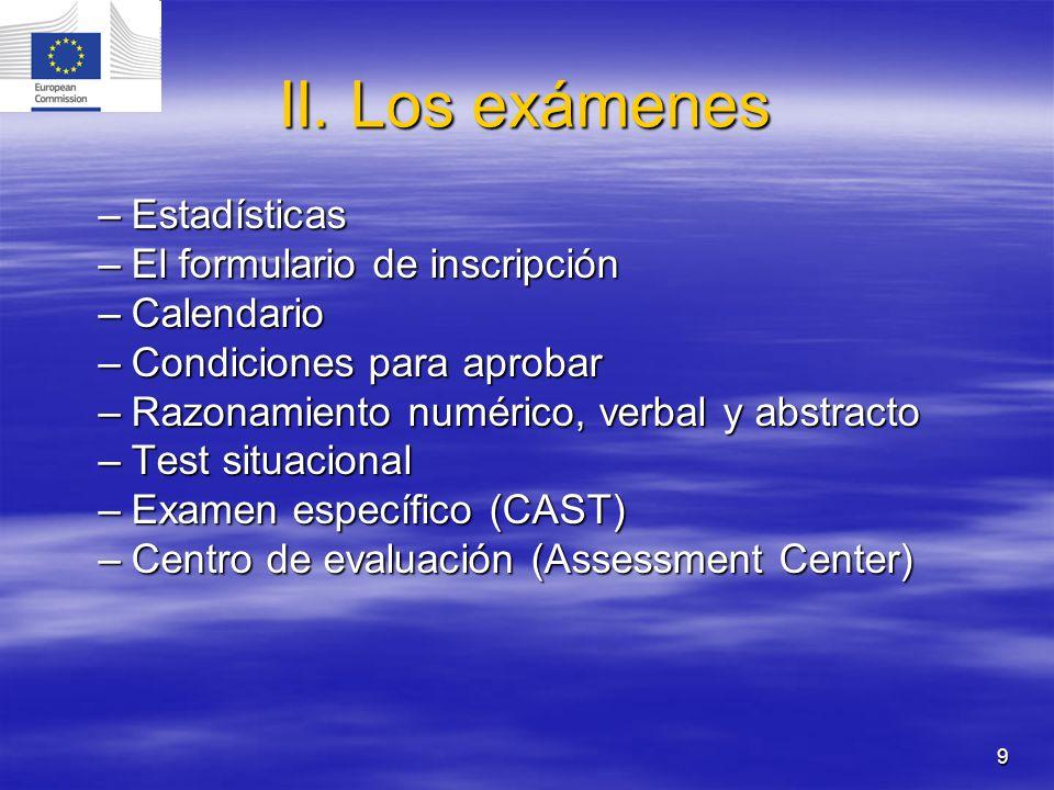 II. Los exámenes Estadísticas El formulario de inscripción Calendario