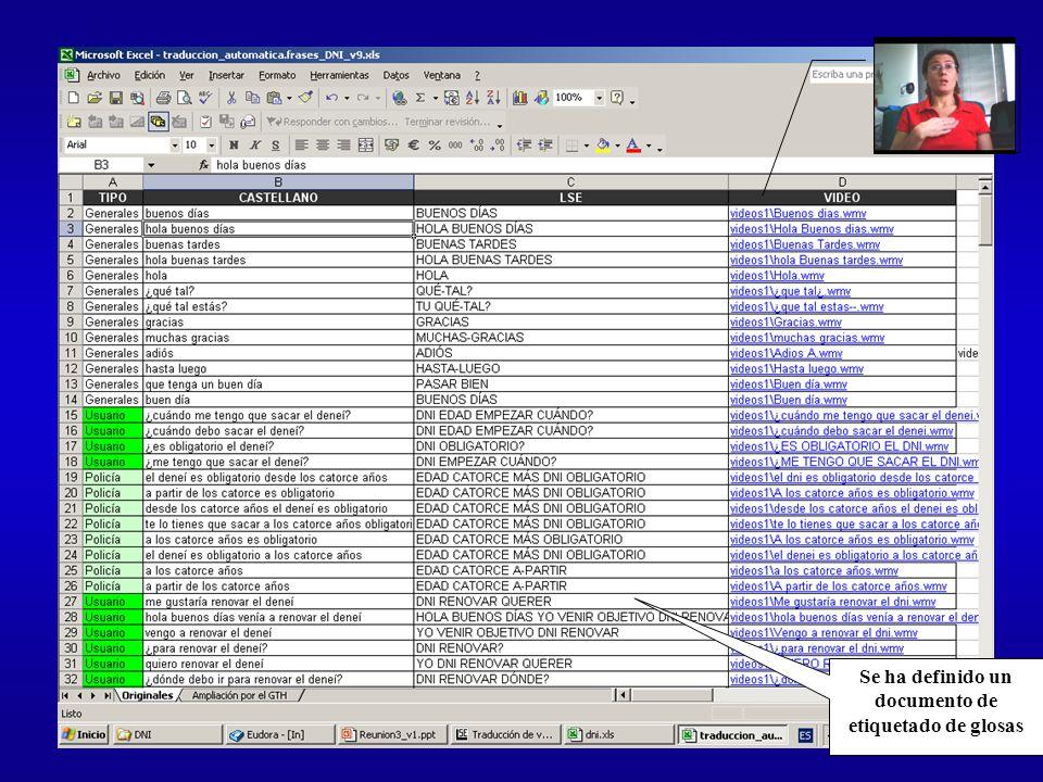 Se ha definido un documento de etiquetado de glosas
