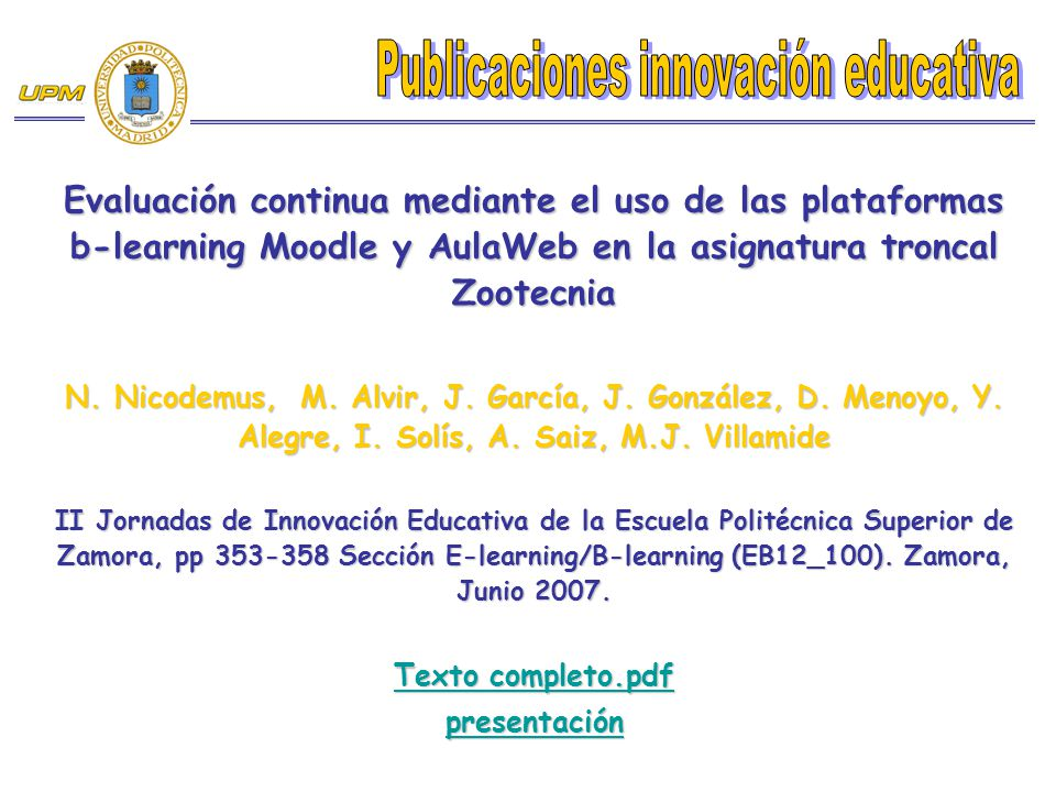 Publicaciones innovación educativa