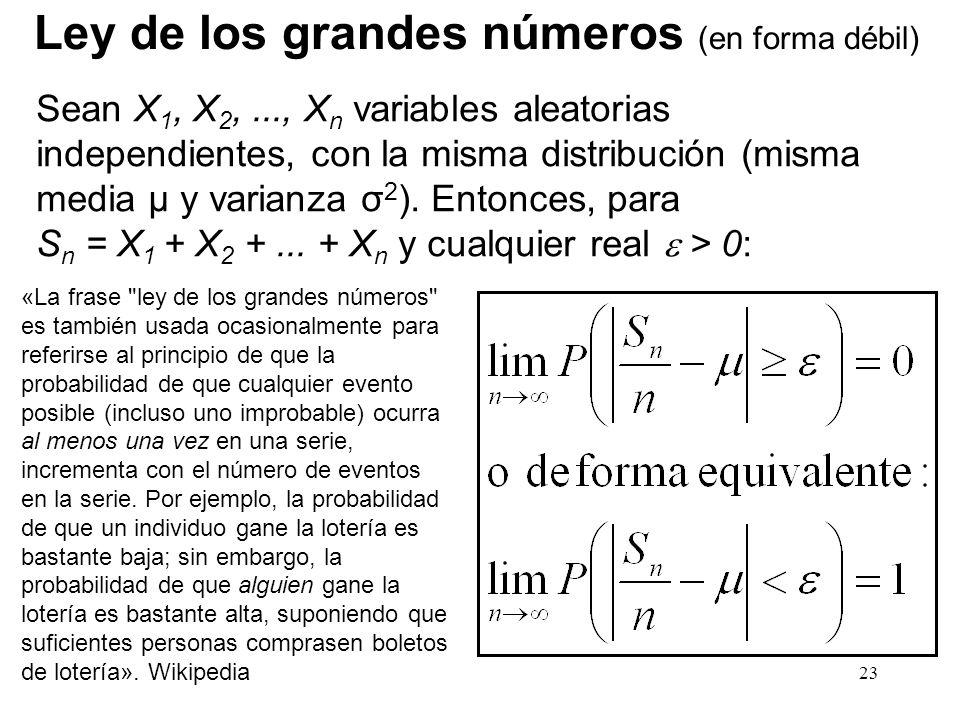 Ley de los grandes números (en forma débil)